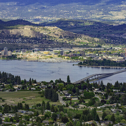 Aerial view of Kelowna British Columbia.